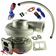 "GT45 600HP T4/T66 3.5"" V-band 1.05 A/R 92 Trim Turbo Charger+Oil Feed+Drain Line"