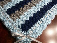 NEW Handmade Crochet Baby Blanket Afghan ( blue gray ) Newborn