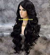 "40"" Long Wavy Layered Off Black Full Lace Front Wig Heat Ok Hair piece #1B NWT"