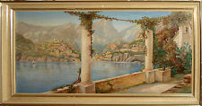 Olio su tela primi '900 Positano costiera amalfitana oil on canvas naples italy