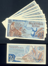 WHOLESALE 100 UNCIRCULATED INDONESIA TWO & a HALF ( 2 1/2 ) RUPIAH P# 77 of 1961