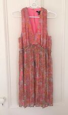 New Plisse Pleated Pink Chiffon Paisley Dress Vintage Sleeveless Lining Sz 10