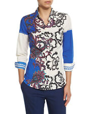 Etro Paisley-Print Long-Sleeve Blouse, Blue/White Orig $395.00 size 44IT/10US