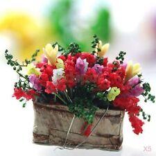 1/12 DOLLHOUSE MINIATURE CLAY FLOWER BUSHES plant +Wooden Pot garden park decor