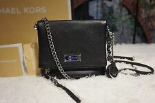 NWT MICHAEL KORS CORINNE XS Messenger/Crossbody Pebbled Leather bag BLACK $198