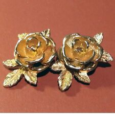 Vintage SARAH COVENTRY Gold Tone Engraved Textured Rose Clip-on Earrings