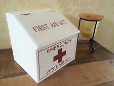 White Wooden First Aid Box Medical Storage Cabinet French Pharmacy Vintage Style