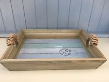 Nautical Wooden Decorative Coastal Storage Tray, Striped & Rope Detail Handles