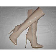 High Heels Stiletto Kniehoch Stiefel Beige Lack 13cm absatz in Gr. 37-38-39-40