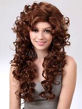 Unique Brown Synthetic Barrel Curls Woman's Long Wig Cosplay Wig Hair