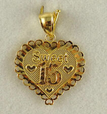 Used 14k Solid Yellow Gold Heart Pendant Sweet 15 /2.52GM