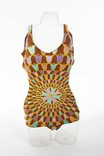 Vtg 60s One Piece BATHING SUIT Swimsuit PSYCHEDELIC Geometric Print Mod Pin Up L