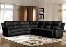 Classic Large Black Sectional Sofa Faux Bonded Leather Recliner End Seat