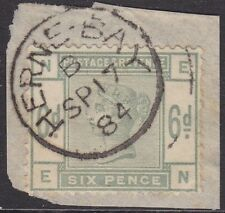 SG 194 6d Green Position EN tied to small original piece in VFU Herne-Bay CDS.