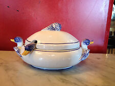 Vintage Italian Ceramic Duck or Swan Decorated Covered Sugar Dish