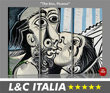 The kiss, Picasso - 3 QUADRI MODERNI INTELAIATI ARREDO CASA DESIGN DIGITAL ART