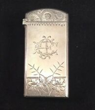 Match Safe Sterling Silver Eastlake Engraved 1886 Flowers Paisleys Brite Cut