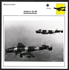 Germany Junkers Ju 86 Medium Bomber Warplane Aviation Card - I Combine S/H