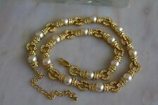 Camrose & Kross JBK Goldtone with Faux Pearl & Pave Rhinestone Link Necklace