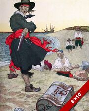 PIRATE CAPTAIN KIDD OVERSEEING TREASURE BURIAL PAINTING REAL CANVAS ART PRINT