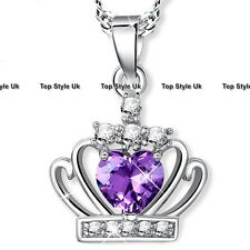 BLACK FRIDAY SALE Silver 925 Crown Purple Heart Necklace Xmas Gifts for Her W1