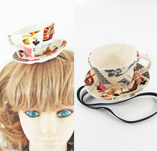 ❤️ Handmade ❤️ Textile Teacup Fascinator-Antique Style Playing Cards *Alice*