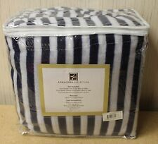 NEW CONCIERGE 4 PIECE QUEEN SIZE BLUE & WHITE STRIPE FLEECE BED SHEETS SHEET SET