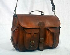 "15"" HANDCRAFTED DESIGNER BRIEFCASE RETRO CHIC RUSTIC LEATHER LAPTOP SATCHEL BAG"