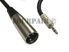 "6ft XLR 3-Pin Male to 3.5mm 1/8"" Stereo Plug Shielded Microphone Mic Cable TRS"