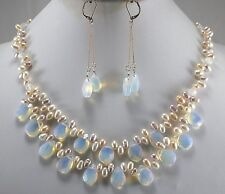 Big Sale! Fashion Light Blue Fire Opal and Fresh Water Pearl Necklace Set
