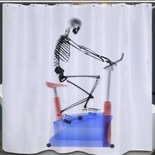 Skeleton on Exercise Bike Bathroom Shower Curtain Polyester Hooks