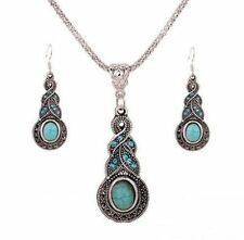 Cute New Tibetan Silver Elongated Oval Turquoise Pendant Necklace & Earring Set