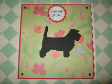 Handmade Grand Basset Griffon Vendeen Greetings Card Dog GBGV Puppy Red Flowers