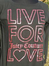 Womens Juicy Couture S Light Weight Sweatshirt Black Live for Love Pink Sparkly