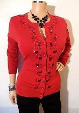 NEW YORK & CO Womens Top M SEXY Red Cardigan Sweater Long Slv Blouse Shirt