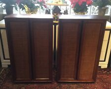 Pair Of Vintage Mid Century Modern Walnut Caned Front Bookcases Cabinets