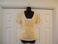SONOMA - WOMEN'S TOP - SIZE L - YELLOW - SHORT SLEEVE - COTTON BL. - CASUAL