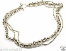925 STERLING VINTAGE GRADUATED ROUND BEADS THREE ROWS TOGGLE NECKLACE NC 414-2
