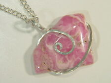 BUTW Sterling Silver Wire Wrapped Hammered Rhodochrosite Pendant Necklace 4883E