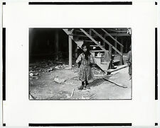 """Lewis Hine """"7-Year-Old Oyster Shucker w/Mumps"""" Double Weight Contact Photo"""