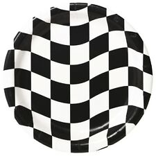 Checkered Flag Dessert Plates (8) - Race Car Themed Birthday Party Supplies