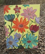 Vintage Floral Oil Painting Unsigned Bright Colors 18 by 24