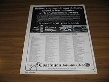 1969 Print Ad Coachmen Motor Homes,Travel Trailers,Pickup Campers Middlebury,IN