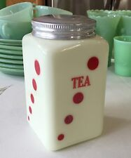 """McKee Custard Red Polka Dots 28 Ounce 6.5"""" Small Tea Canister Jar ~ 1930's ~"""