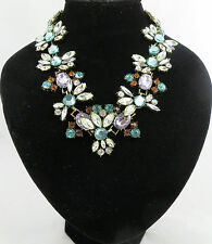 SHADES OF GREEN COLOURED FLOWER DESIGN SPARKLY STATEMENT NECKLACE