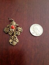 RARE VINTAGE VICTORIAN BRONZE/BRASS CORAL CROSS PENDANT W/FLOWERS AND LEAVES