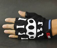 GOTHIC Mens Misfit White Skeleton Bones Fingerless Black Work Gloves Goth Horror