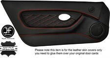 RED DIAMOND STITCH 2X FULL DOOR CARD TRIM LEATHER COVERS FOR MGTF MK2 00-06