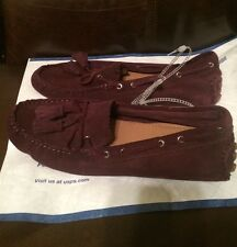 SIZE 10 COACH  BURGUNDY LOAFERS FLAT  SUEDE SHOE NEW