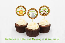 Cute Jungle Safari Animals Cupcake Toppers Party Favor Tags Printable